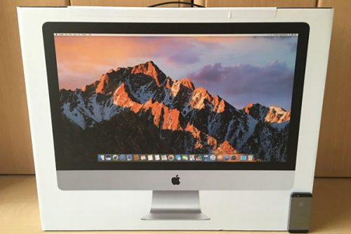 iMacの箱とiPhone